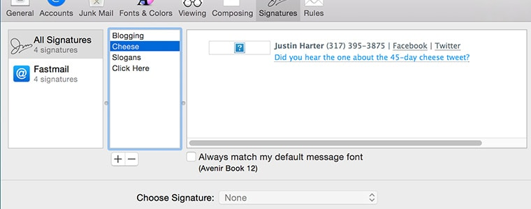 OS X Yosemite Easy HTML Mail Signatures