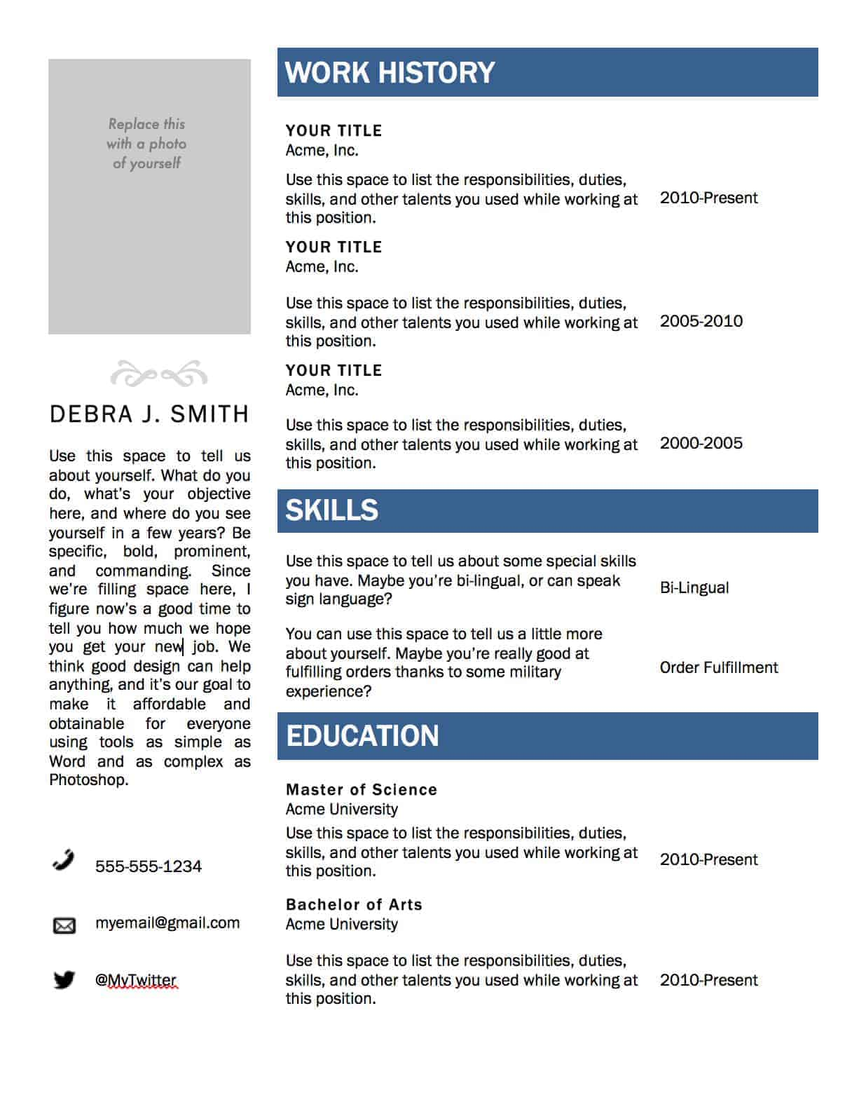 free microsoft word resume template - Microsoft Word Resume Template