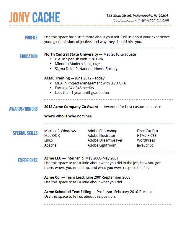 dashing resume template preview - 2014 Resume Template