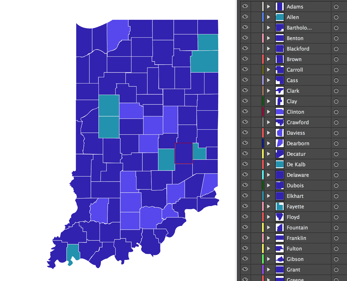 Layered Vector Indiana County Map SuperPixel